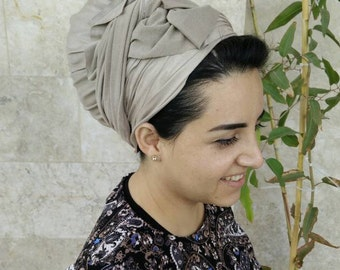 New hair wrap, Chic suede leatherette Head scarf, long rectangular headscarf