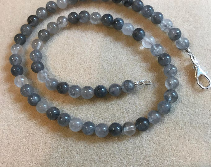 Tibetan Quartz 8mm Round Bead Necklace with Sterling Silver Lobster Clasp