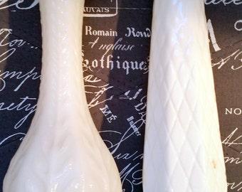Vintage White Milk Glass Vases set of 2