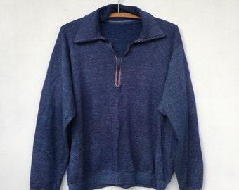 Vintage 70s Distressed Heather Blue Collared Pullover Sweatshirt M L