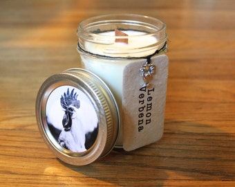 Lemon Verbena Soy Candle - 8 oz. Soy Candle - Woodwick Candle - Wildflower Seeds - Americana - Rooster - Home Decor - Vintage Americana