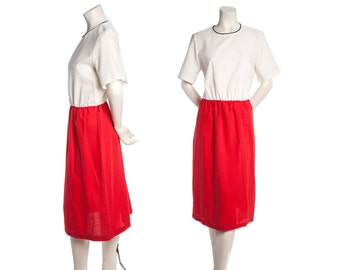 Vintage colorblock day dress -- red and white short sleeve dress -- size large / xl
