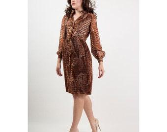 Oscar de la Renta Boutique / Vintage bronze organza dress with pleated skirt S M