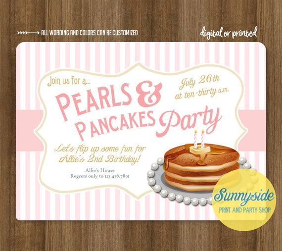 Pancakes Pearls Birthday Invitation – Pancake Party Invitations