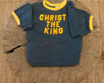Distressed Trashed Vintage 70s 1970s flocked ringer t shirt cotton Balfour baseball sports jersey Christ the King Jesus Christian  L 44in