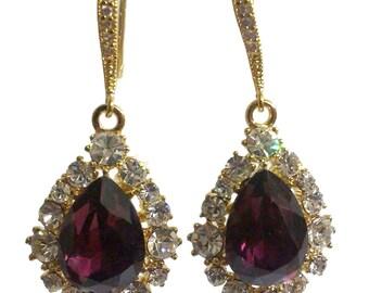 Amethyst Purple Bridal Earrings, Purple Gold Earrings, Teardrop Bridesmaid Earrings, Bridesmaid Jewelry Gift, Birthday Gift for Her, BIJOUX