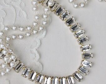 NEW Crystal Clear Baguette Choker Necklace,Clear White Diamond Baguette Necklace,Bridal Necklace,Weddings,Classic,Elegant,Gold Rhinestone