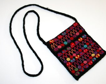 Embroidered Felted Mini Shoulder Bag / Boho Hippie Stash Side Bag