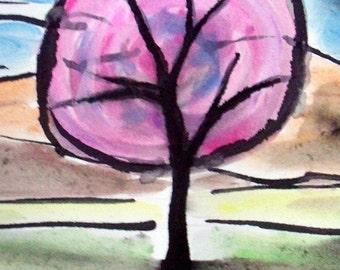 PINK TREE Art Print on Cardstock