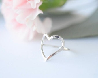 Sterling Silver Open Heart Ring • 14k Gold Hand Crafted Jewelry • Handmade Minimal Delicate Unique Gift for Her • Understated Love Ring