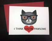 Hipster Cat Valentine Card, Handmade Card, Love Card, Friendship Card