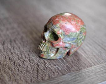 RESERVED - Unakite Stone Carved Crystal Skull