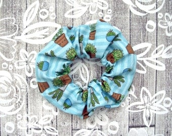 Succulents Scrunchie - Blue Scrunchy / Plant Pattern / Illustrated Fabric / Large Cotton Scrunchie / Cactus Lover Gift / Trendy Accessory