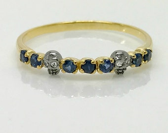 Blue sapphire love ring, tiny skull ring, eternally yours sapphire ring, size 8.75