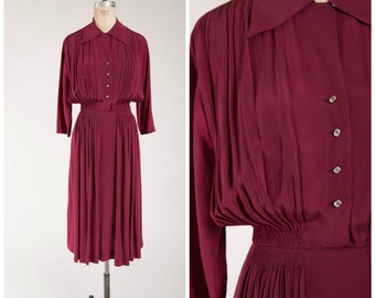 Vintage 1940s Dress • Meander Moments • Maroon Rayon 40s Shirtwaist Dress Size Large
