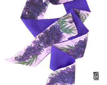 Long Skinny Scarf, Purple Silk Summer Scarf, Lady Wiseria Scarf, Handpainted, Reversible Scarf, ETSY, Takuyo, 5x70 inch