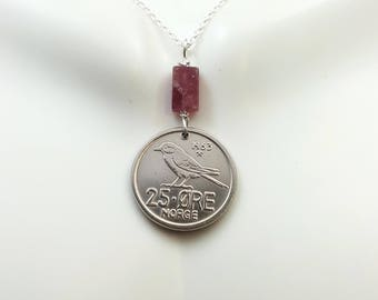 Chickadee necklace, vintage 1963 Norway 25 ore coin, bird necklace, Siberian chickadee, bird jewelry, chickadee jewelry, pink tourmaline