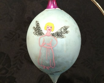 Vintage Angel Christmas Ornament Blown Glass Tear Drop FREE SHIPPIING - order 3 or more Christmas  listings