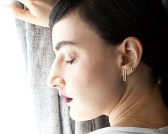 Black Enamel Long 14k Gold Stud Earrings, BY SHUNA JEWELRY