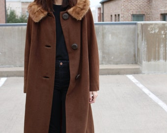 vintage cashmere fur collar winter coat