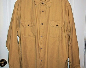 Vintage Men's Old Gold Flannel Shirt by Basic Editions Large Only 9 USD
