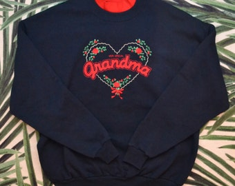 Vintage 80s Very Special Grandma Floral Heart Valentine Tacky Crewneck Sweatshirt Made in USA