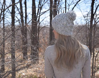 Cable Knit Pom Beanie Hat / Winter Cable Knit Hat / Grey Marbled Neutral Tam