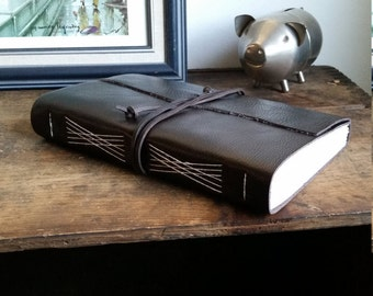 Large Leather Journal, Dark Brown, Hand-Bound 6 x 9 Journal by The Orange Windmill on Etsy 1738