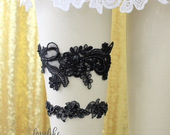 Light Gold Pearl Beaded Lace Wedding Garter Set Ivory Lace