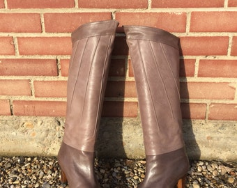 vintage starburst italian leather boots knee high brown taupe leather  - 80s