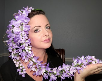 WISTFUL WISTERIA Fantasy Floral Headdress Hair Adornment ooak