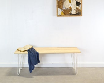 Hairpin Leg Bench, Handmade Solid Ash Wood dining or hall Bench