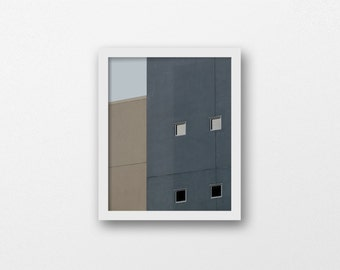 PAPER HOUSES | Abstract architecture photography | blue grey & taupe home decor | modern minimalist art print | geometric wall art | gift