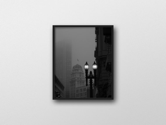 RAIN WITHOUT END | Foggy street photography | black and white noir inspired art print | San Francisco wall art | dark city photography