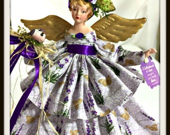 ANGELS, Purple Angel for Mother's Day, Handmade Lilac Tree Topper, Porcelain OOAK Angel, Purple Girls Gift, Handmade Angels