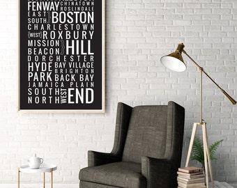 Boston, Massachusetts Neighborhoods - Typography Print