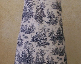 Blue Toile Apron - Handmade French Country Chef Aprons - Full Women's Apron - Small to Plus Size in Cotton Fabric