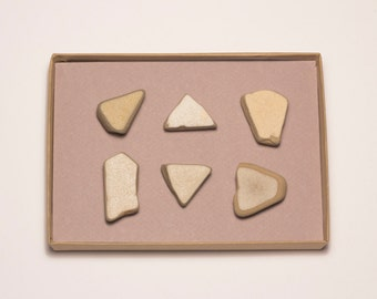 White Grayish Concrete Shards Magnets   Geometric Magnets, Beach Finds Magnets Set of 6 Super Strong Magnets, Gift for Men, Message Board