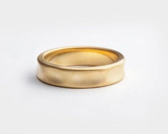 Mens wedding band   18kt yellow gold ring, Texture wedding ring, 14k gold wedding ring, smooth band, wrinkle band, women's gold band