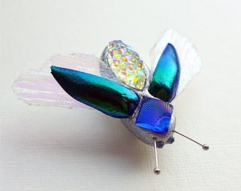 Beetle brooch, with real jewel beetle elytra (wing cases)