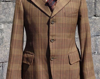 """Vintage 1970's Brown Plaid Check Fitted Jacket Tailored by Alexandre 32""""- 34"""""""