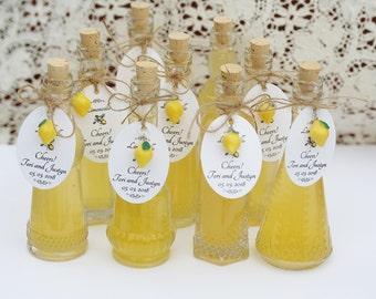 Limoncello Bottles FREE Shipping USA Tags Lemon Charms Corks Limoncello Favor Clear Glass Bottles Custom Tag Limoncello Favor Bottles Tags