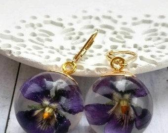 Ultra violet earrings gold resin flower dangles Clear resin sphere Purple violet jewelry terrarium mothers gift for her Myjewelsgarden