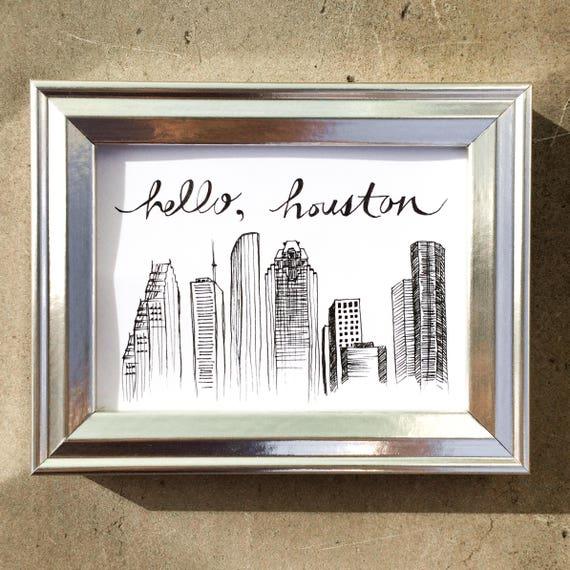 Houston Skyline Drawing - Hello Houston, Magnet, Framed Art, Mini Frame, Downtown Houston Illustration