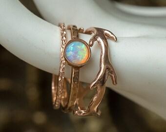 Rose Gold Rings, Opal Ring, Stacking Rings, Gold Stack Rings, Dainty Rings, Thin Gold Rings, Pink Gold Rings, Crown Ring, Set of Three Rings