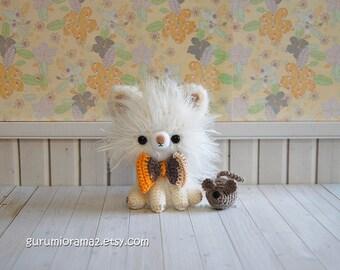 kawaii kitty cat, amigurumi crochet fuzzy white cat kitten, stuffed animal plush toy kitty, gray mini mouse