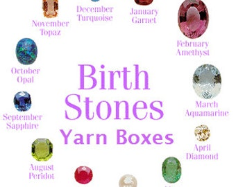 Birthstone Yarn Box, hand dyed yarn plus extra goodies, gift for a knitter, gift for her, indie dyed yarn, 4ply yarn, DK yarn, knitting yarn