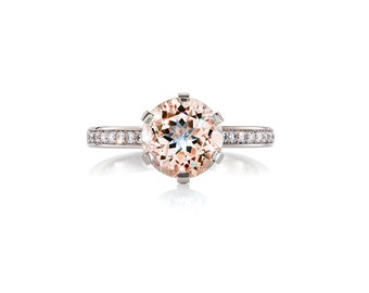 Morganite engagement ring made from 950 Platinum, Engagement ring, Solitaire, Diamond engagement, traditional, peach morganite ring