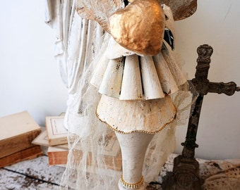 Santos angel candle holder decoration shabby French chic angelic figure on salvaged baluster one of a kind home decor art anita spero design