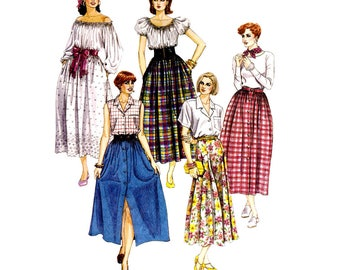 """McCall's 6023 Woman Long Spring Pull-On Skirts Vintage Sewing Pattern Sizes 8-10-12 Waist 24-26.5""""/61-67 cm Flared Skirt 1992"""